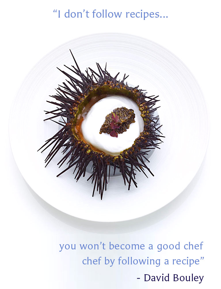 """Bouley at Home Restaurant 31 West 21st Street, Flatiron, NYC. Pictured is a spiny sea urchin with caviar inside. """"I don't follow recipes. you won't become a good chef by following a recipe."""" - David Bouley"""