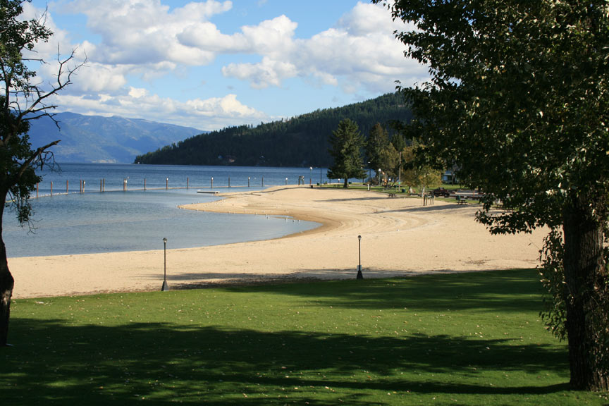 View of the Sandpoint City Beach and Lake Pend O'reille
