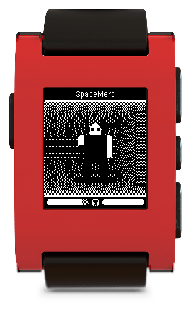 A Fim Soldier from the SpaceMerc Pebble game as seen on a red Pebble watch.