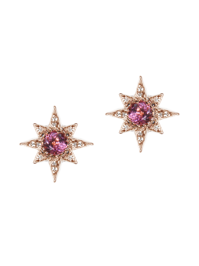 Pink Tourmaline and Rose Gold Starburst Stud Earrings