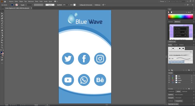 Adobe Illustrator Cartão digital organizando objetos
