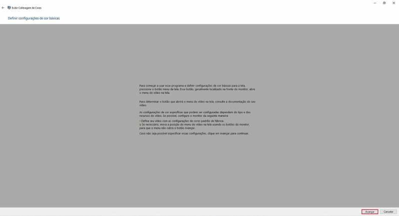 Instruções configurações de cores