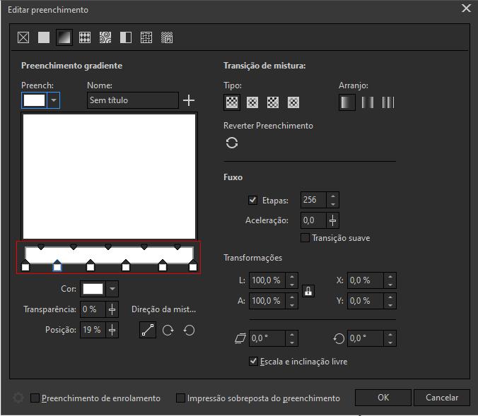 CorelDRAW Editar preenchimento gradiente