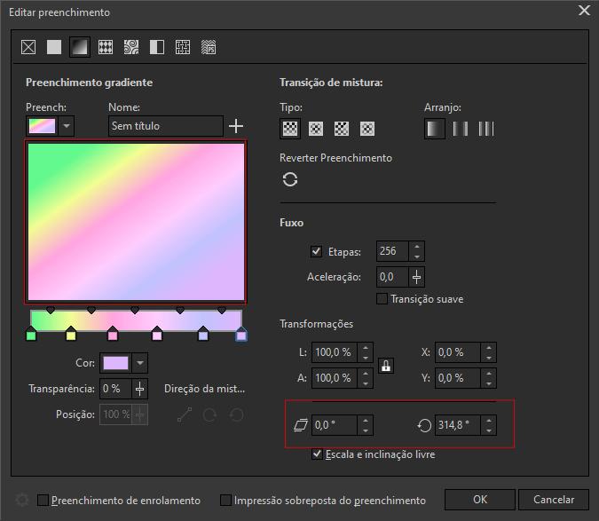 CorelDRAW Preenchimento gradiente alteração de ângulo