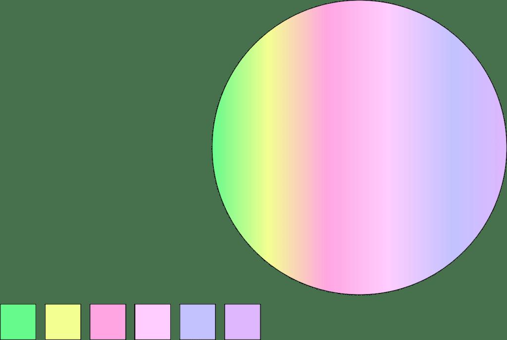 CorelDRAW Elipse colorida e amostra de cores bolha de sabão