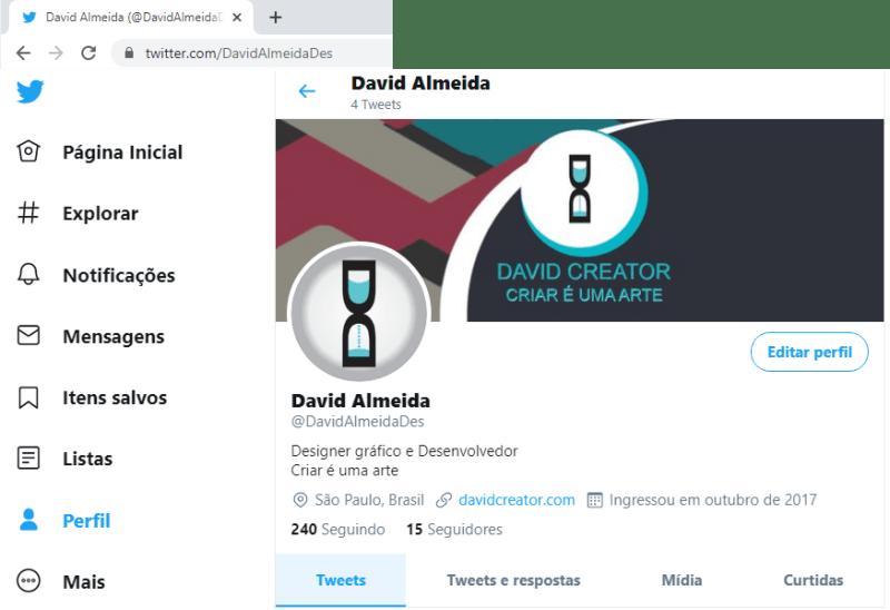 Tela perfil Twitter