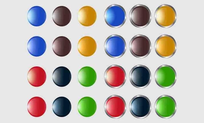 Imagens Botões Circular com Acabamento Metálico CDR e AI