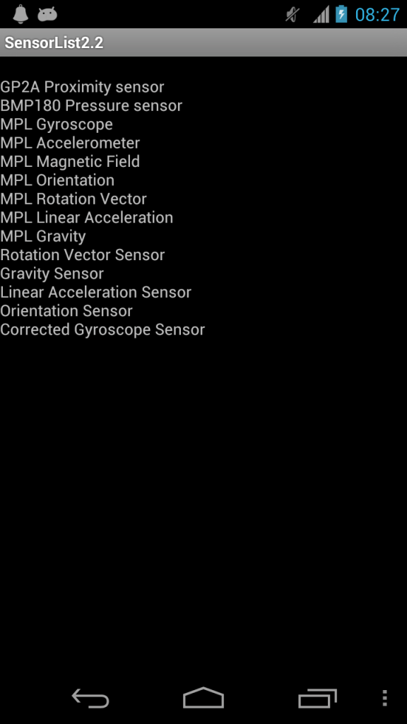 Sensor List Galaxy Nexus