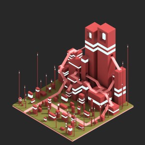 voxel art city