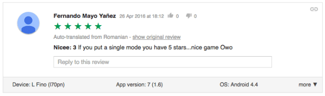 Nice if you put a single mode you have 5 stars nice game