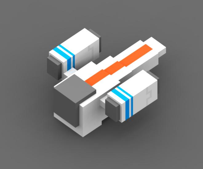 Voxel dragonfly spaceship