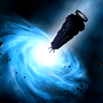 blue dwarf entering wormhole