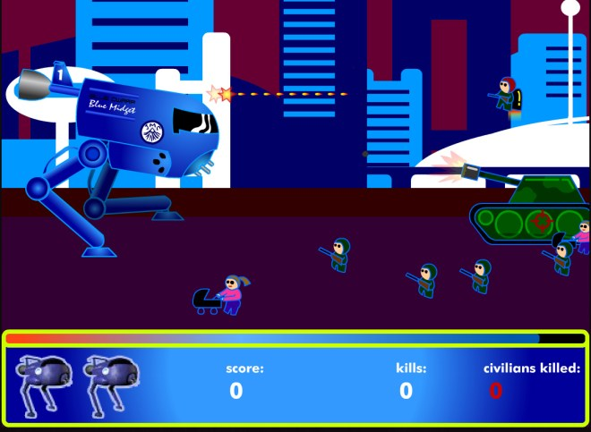 game screenshot of 'blue midget walker'