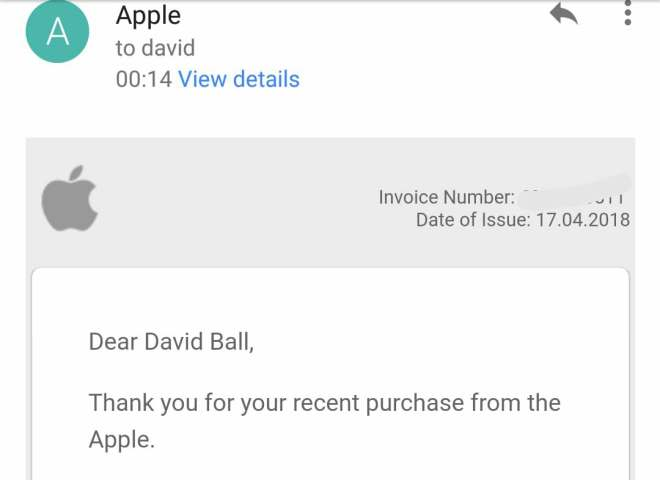 "Email saying ""thankyou for your purchase from the apple"""