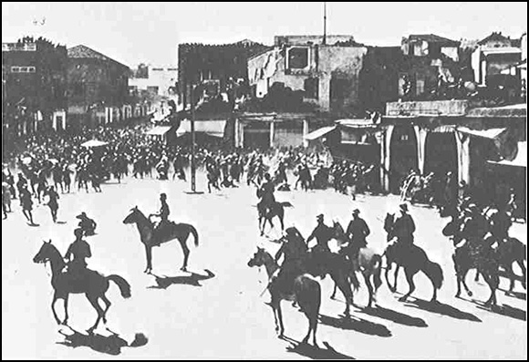 Palestinians demonstrate in Jaffa's central square against the plans of the British government to increase Zionist immigration into Palestine, 27 October 1933.