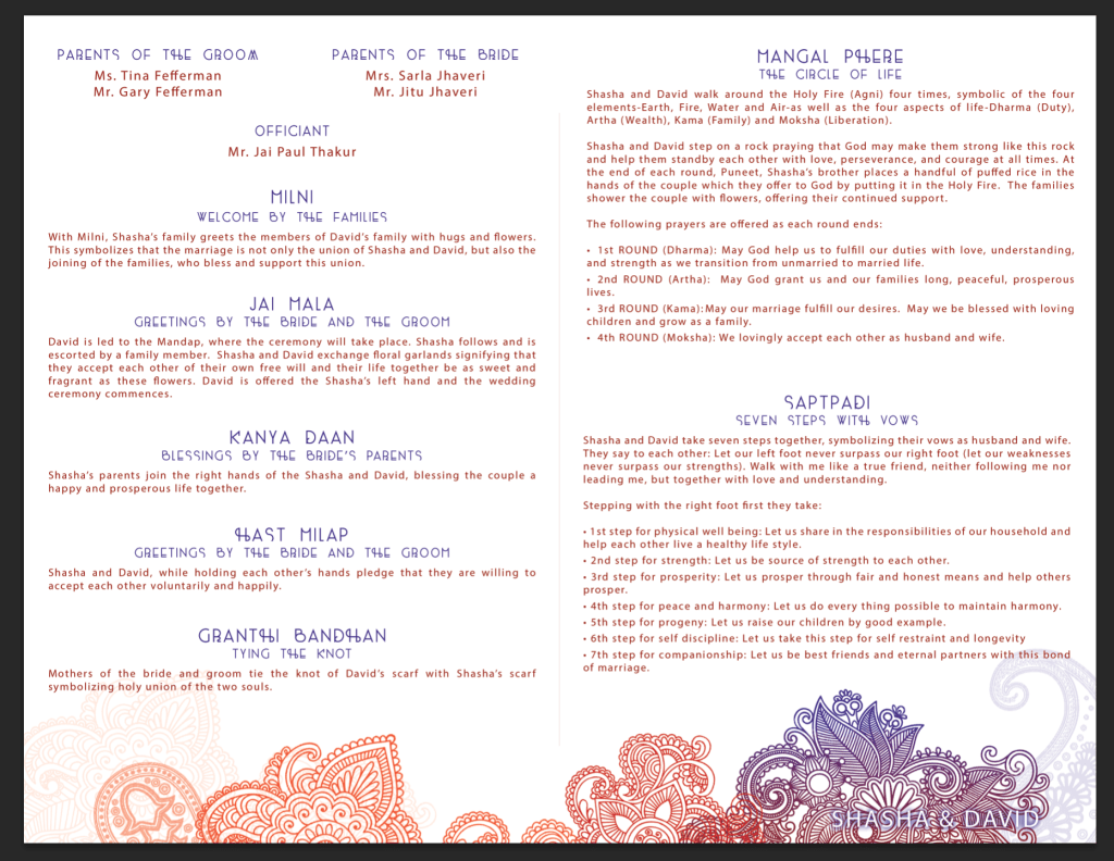 Indian wedding program