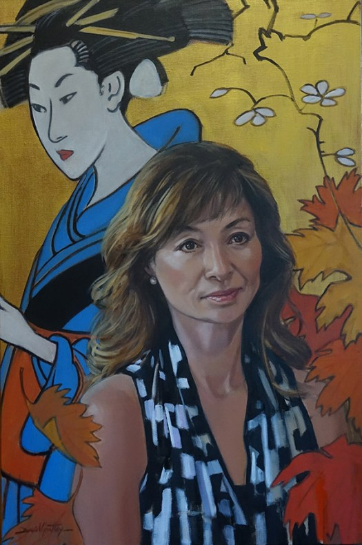 Oil painting of a Japanese born Canadian immigrant with cultural symbolism