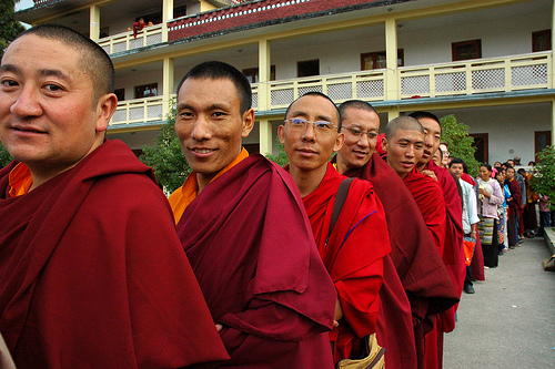 Monks in line