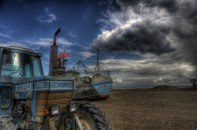 Old tractor and fishing boat, Thorupstrand © David Hamilton Melby high dynamic range
