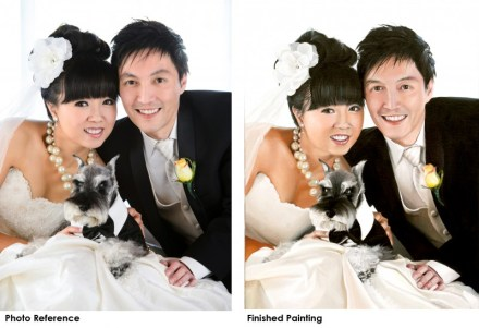 Wedding portrait photo (on left) and painting, oil on canvas