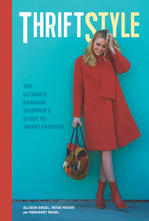 Book cover for ThriftStyle by Allison Engel, Reise Moore, and Margaret Engel; Woman in red coat holding multi colored purse under title in front of a blue wall