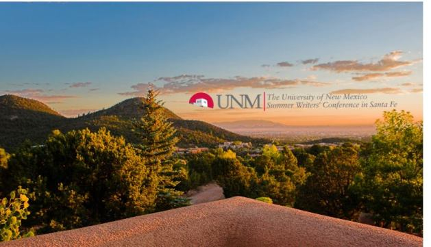 University of New Mexico Summer Writers' Conference in Santa Fe logo overlaying skyline of Santa Fe