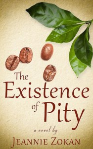Book cover for The Existence of Pity by Jeannie Zokan; images of leaves and nuts