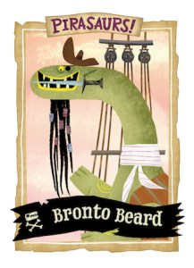 Bearded Brontosaurus wearing pirate clothes