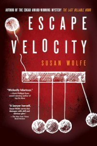 Cover of Escape Velocity by Susan Wolfe; sketch of Newton's cradle with a ball flying off
