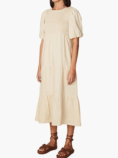 ALBERTE SHORT SLEEVE SAND MAXI DRESS