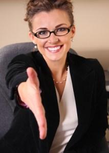 Saleswoman Handshake