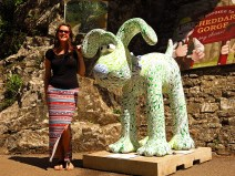 Girl with Gromit - Cheddar Gorge England - photo by David J Rodger