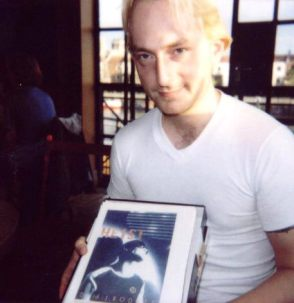 1999 - Djr - Mud Dock cafe holding MS for Heist which I had just finished and became Dantes Fool
