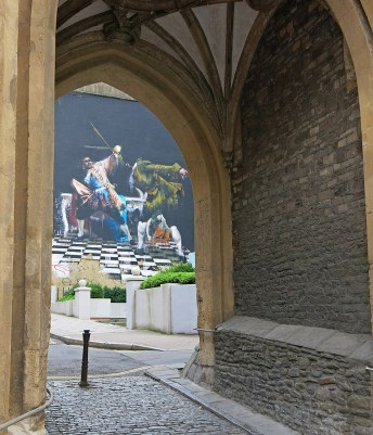 Bristol England Graffiti Street Art seen through medieval arch