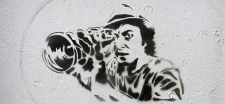graffiti stencil work at NDSM Amsterdam - like a Mr Hmm - photo by David J Rodger