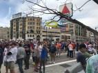 A blue and yellow balloon celebrates the running of the Boston Marathon