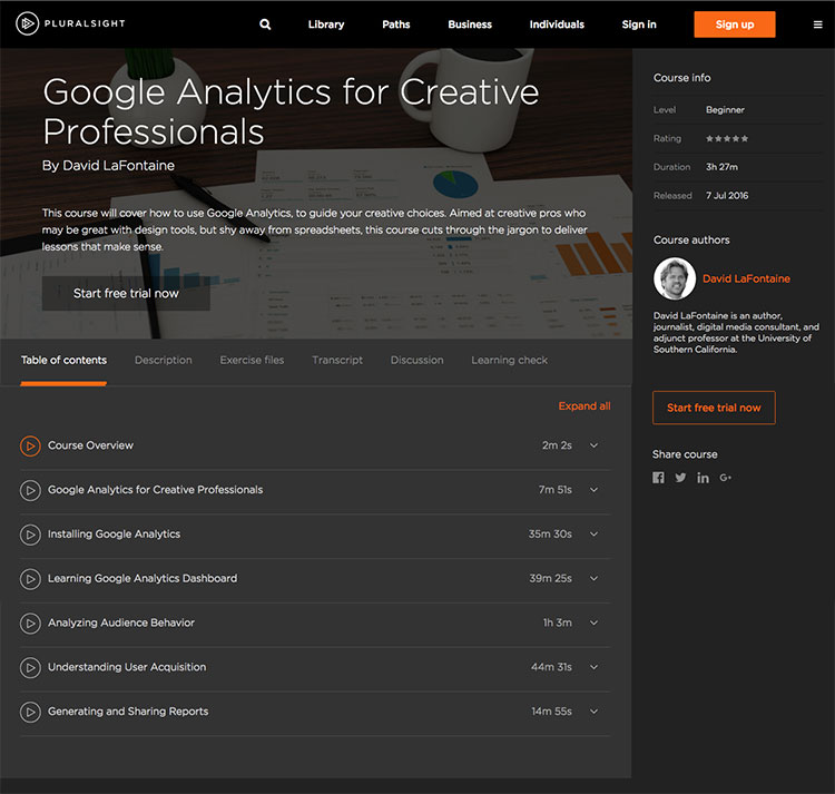 Google Analytics Class for Pluralsight