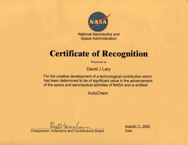AutoChem Certificate of Recognition August 11, 2005