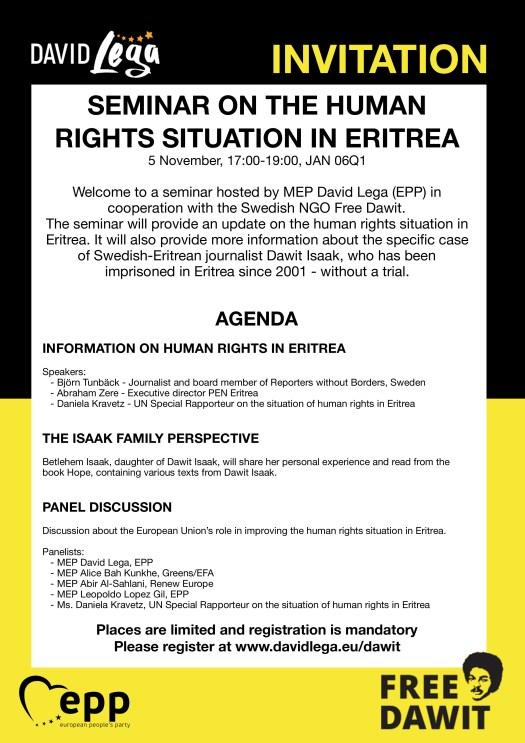 Invitation Eritrea SeminarDavid Lega
