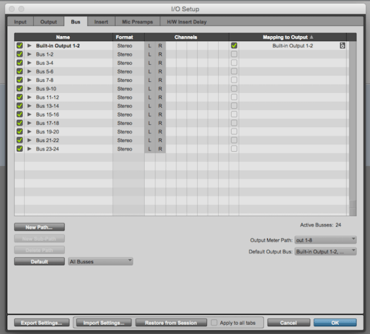 Pro Tools 12 IO Setting window