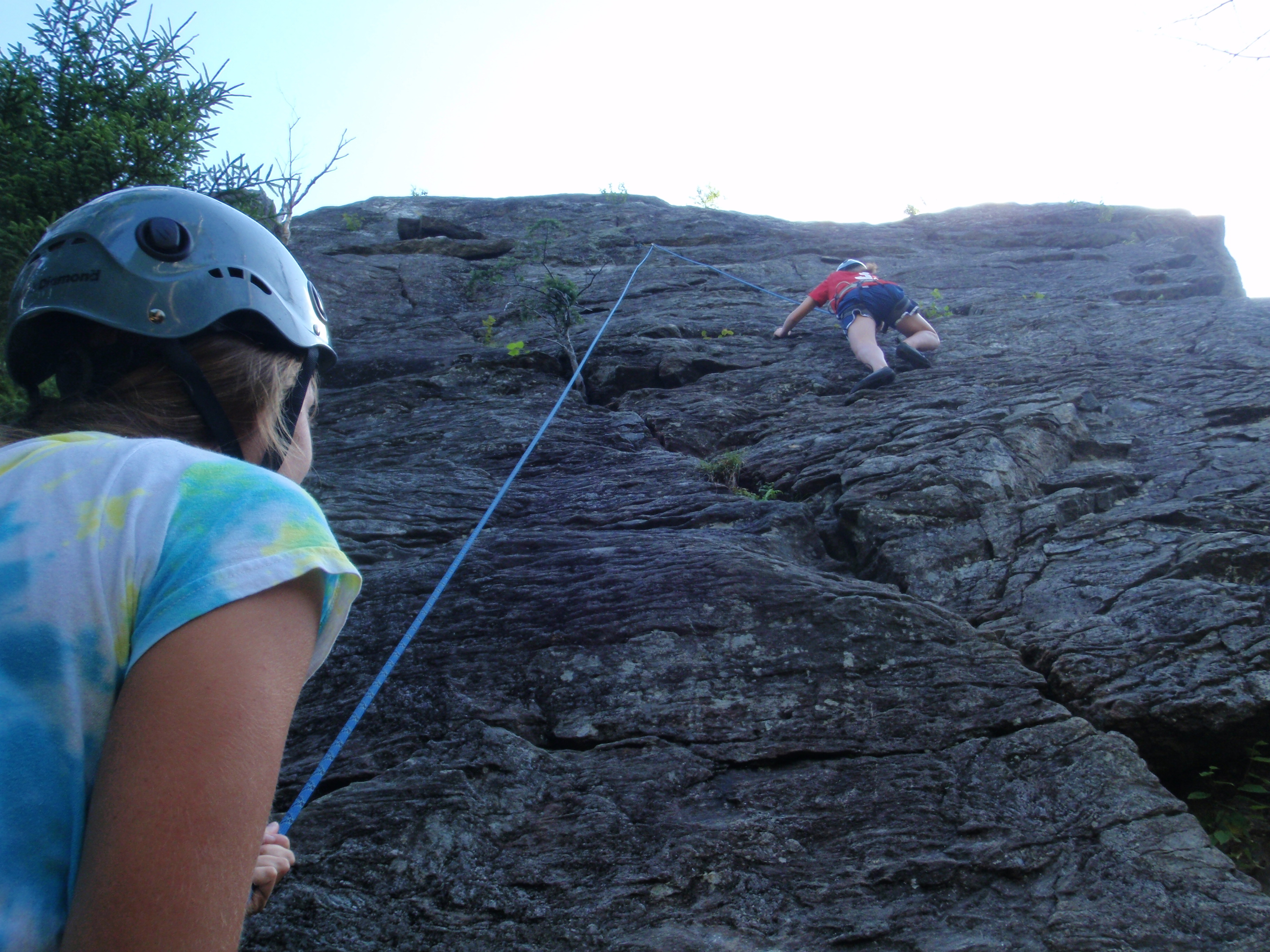 """With a """"slingshot"""" belay we started working on climbing technique..."""