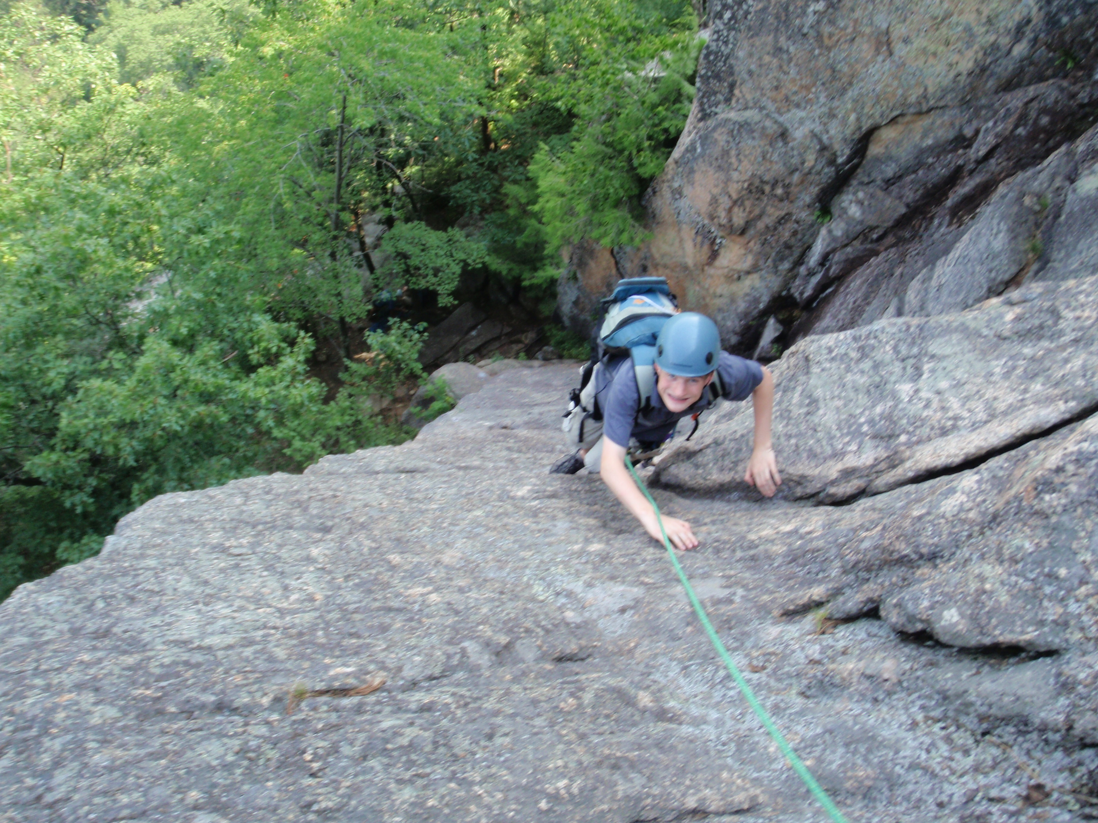 In the afternoon we decided to do some multi-pitch. This is looking down the 1st pitch of Upper Refuse.