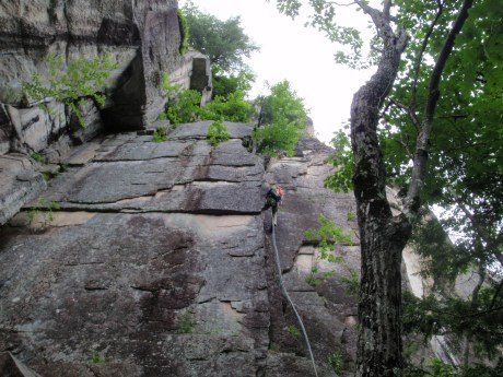 Two 200 foot long rappels got us back to the ground...