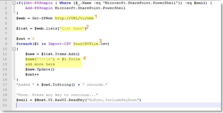 Import Data into SharePoint via PowerShell