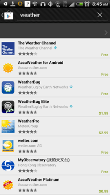 Search Weather on Android
