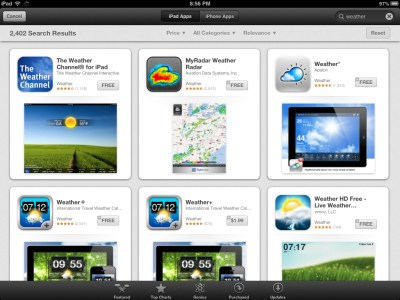 searching iPad Weather