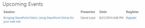 SHarePoint Event List on Office 365