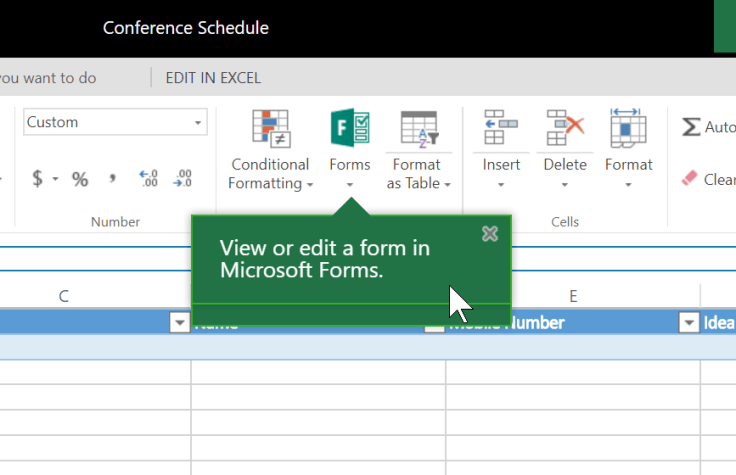 Edit Forms from Excel