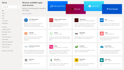 Loads of apps available to Microsoft Teams