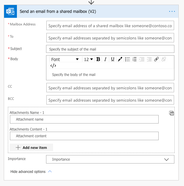 outlook send an email from shared mailbox in flow